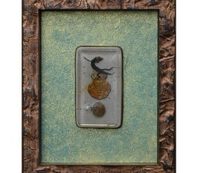 Stone, metal, lizard & resin on rare vintage asian paper • 21x26cm • More pic. > GALLERY OTHER CREATIVE STUFF