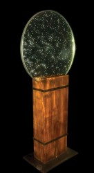 Resin, homeopathy on glass, stell & douglas pine •80cm x 1,75m x 40cm • More pic. > GALLERY SCULPTURES