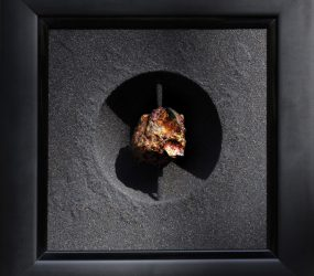 Volcanic sand, stone, acrylic, gold & metal • 32x32cm • More pic. > GALLERY SCULPTURES
