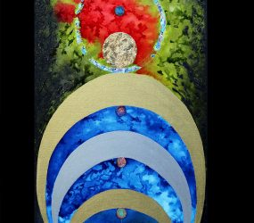 Ink, gold & paintings on canvas • 1m x 50cm • More pic. > GALLERY PAINTINGS
